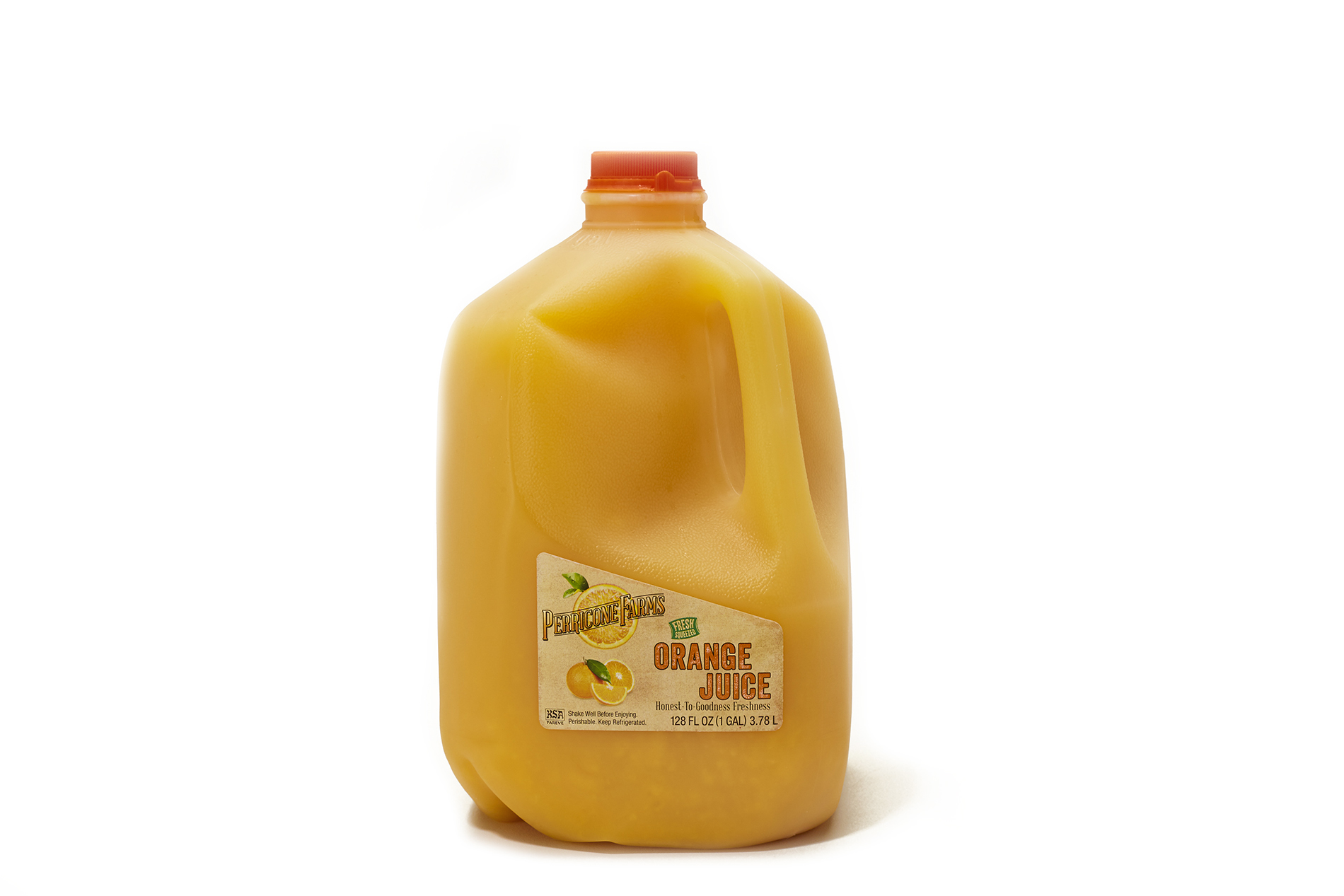 Gallon jug of fresh orange juice